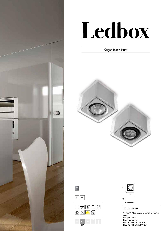 LedBox Plafón Cuadrado policarbonato Transparente GU10 - Transparente/gris Grok Foto