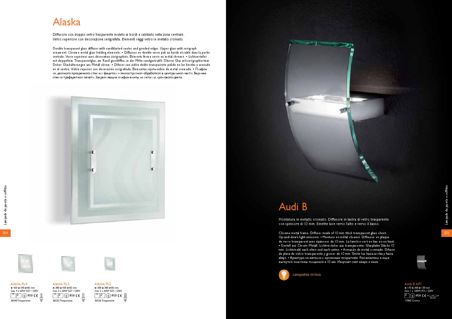 Ideal Lux Audi b wall lamp ap1 1xr7s 100w chrome 17082