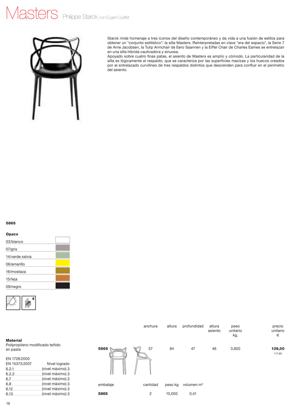 Kartell masters chair packaging of 2 units 5865 - Chaises kartell masters ...