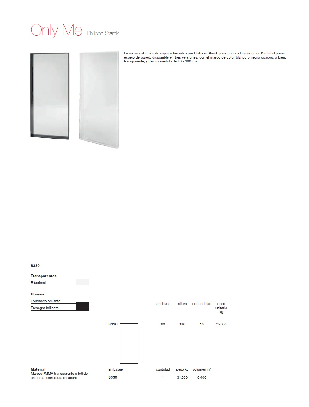 Kartell only me specchio 80x180cm 8330 l mparas de dise o - Specchio kartell prezzi ...