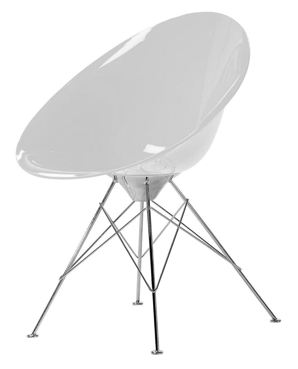 kartell eros chair with structure of steel  -  imagen  de eros chair with structure of steel chromed of four patas