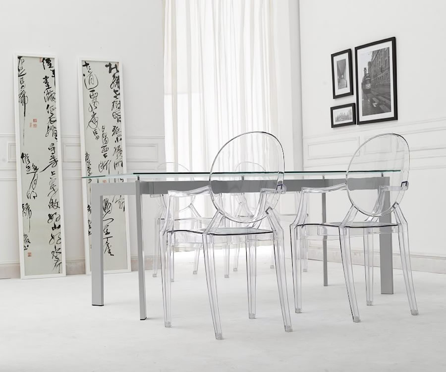 kartell louis ghost stuhl transparent glas 4 4853 l mparas de dise o. Black Bedroom Furniture Sets. Home Design Ideas