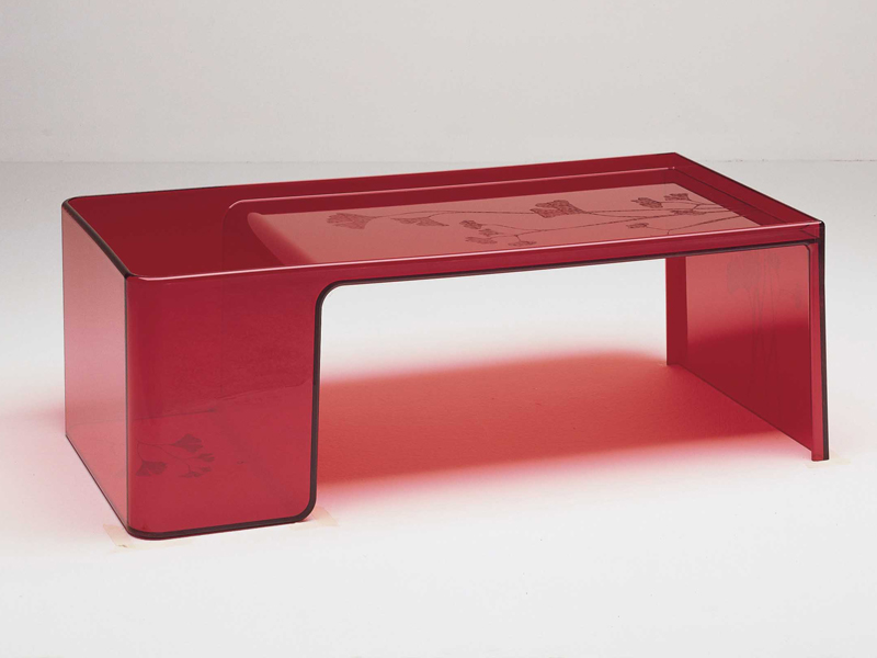 Kartell usame table transparent glass 84x20cm 8840 for Table kartell