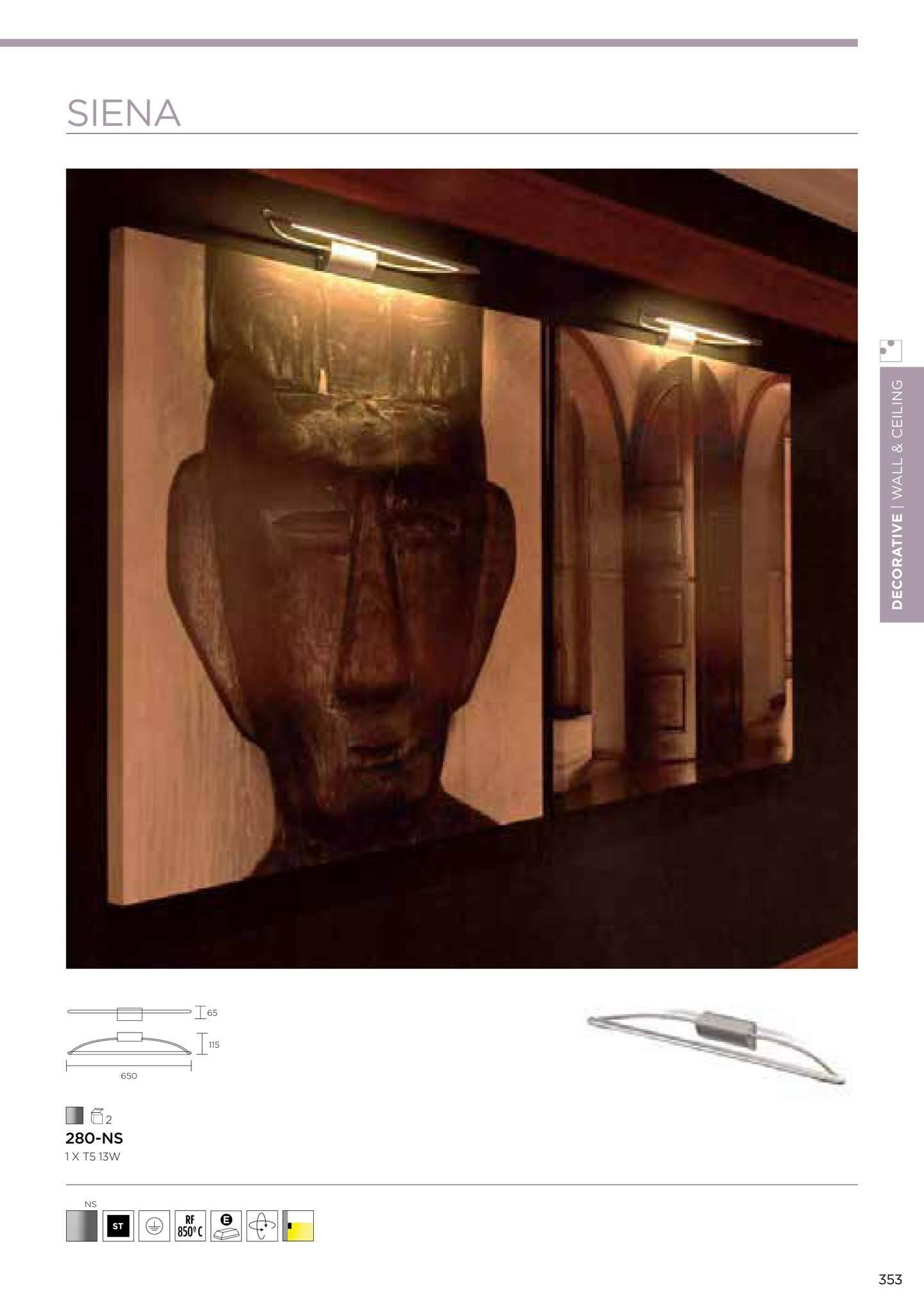 Siena Wall Lamp Lights pictures 65cm T5 13w 2700K - Níquel Satin La Creu Image