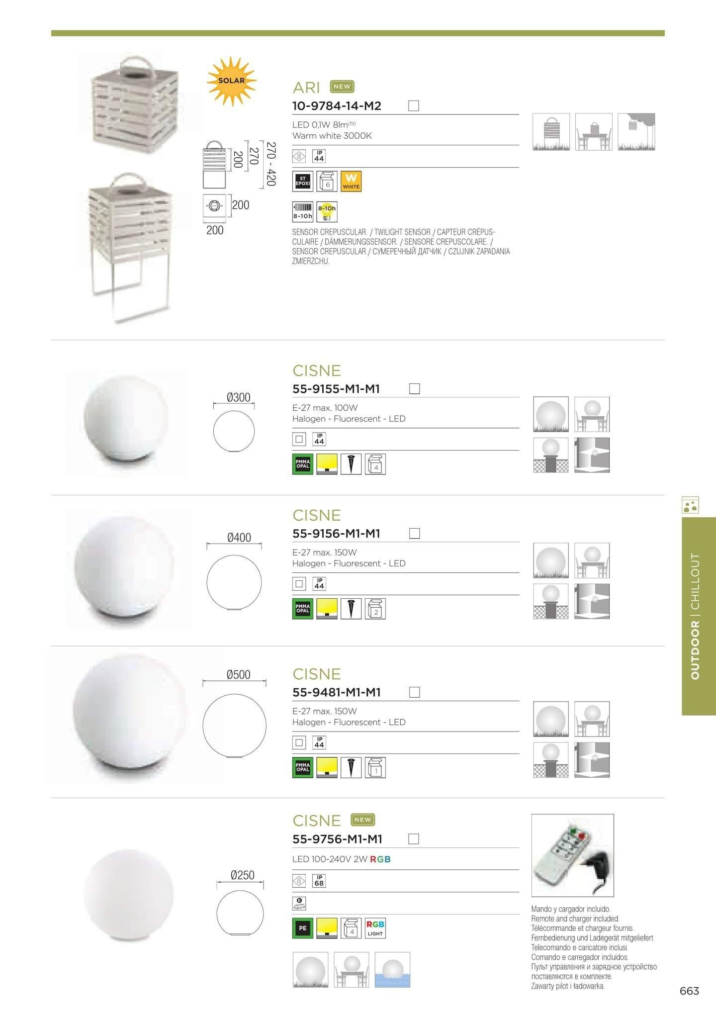 Cisne Lámpara de Exterior ø50cm 1xE27 / 1 x PL elect E27 blanco Leds C4 Foto
