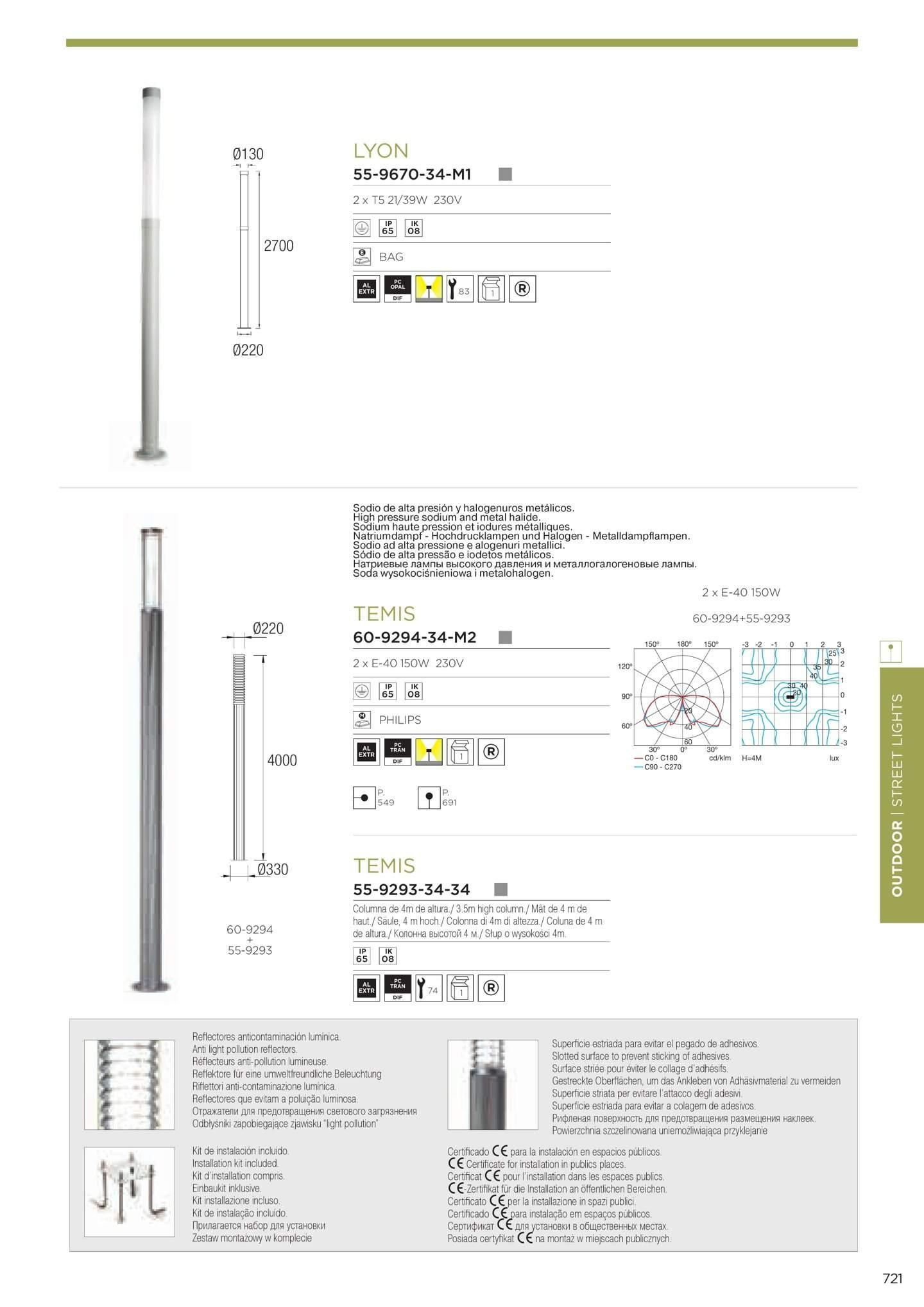 Temis Cabezal Luminaria combinable con Columna 2xE40 150w sodio alta presión gris Leds C4 Foto