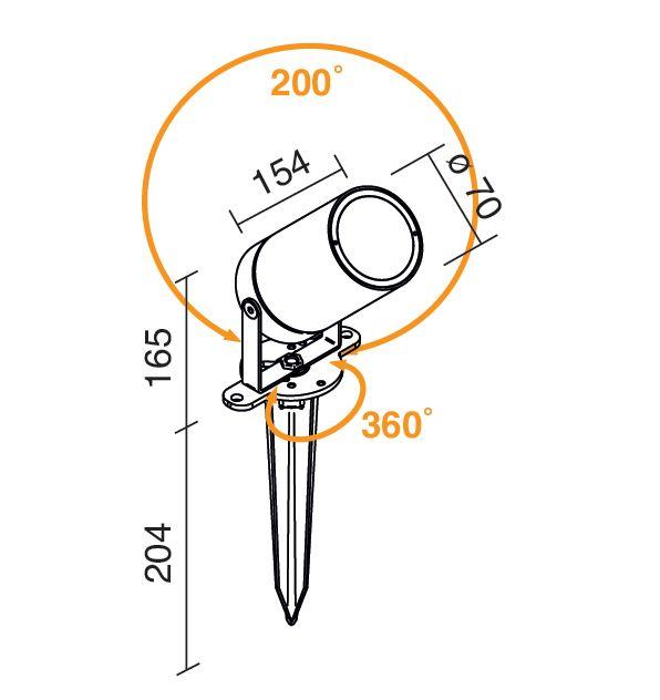 Vision 2 Baliza de jardín Pequeña ajustable con estaca QPAR16 35W acero cor ten Linealight Traddel Foto