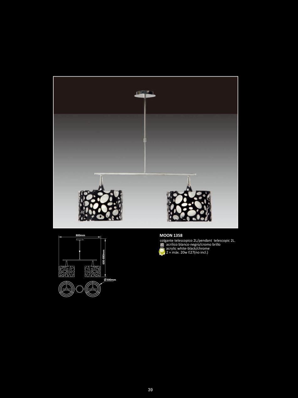Moon lámpara Colgante telescópica Cromo/blanco + negro 2L Mantra Foto