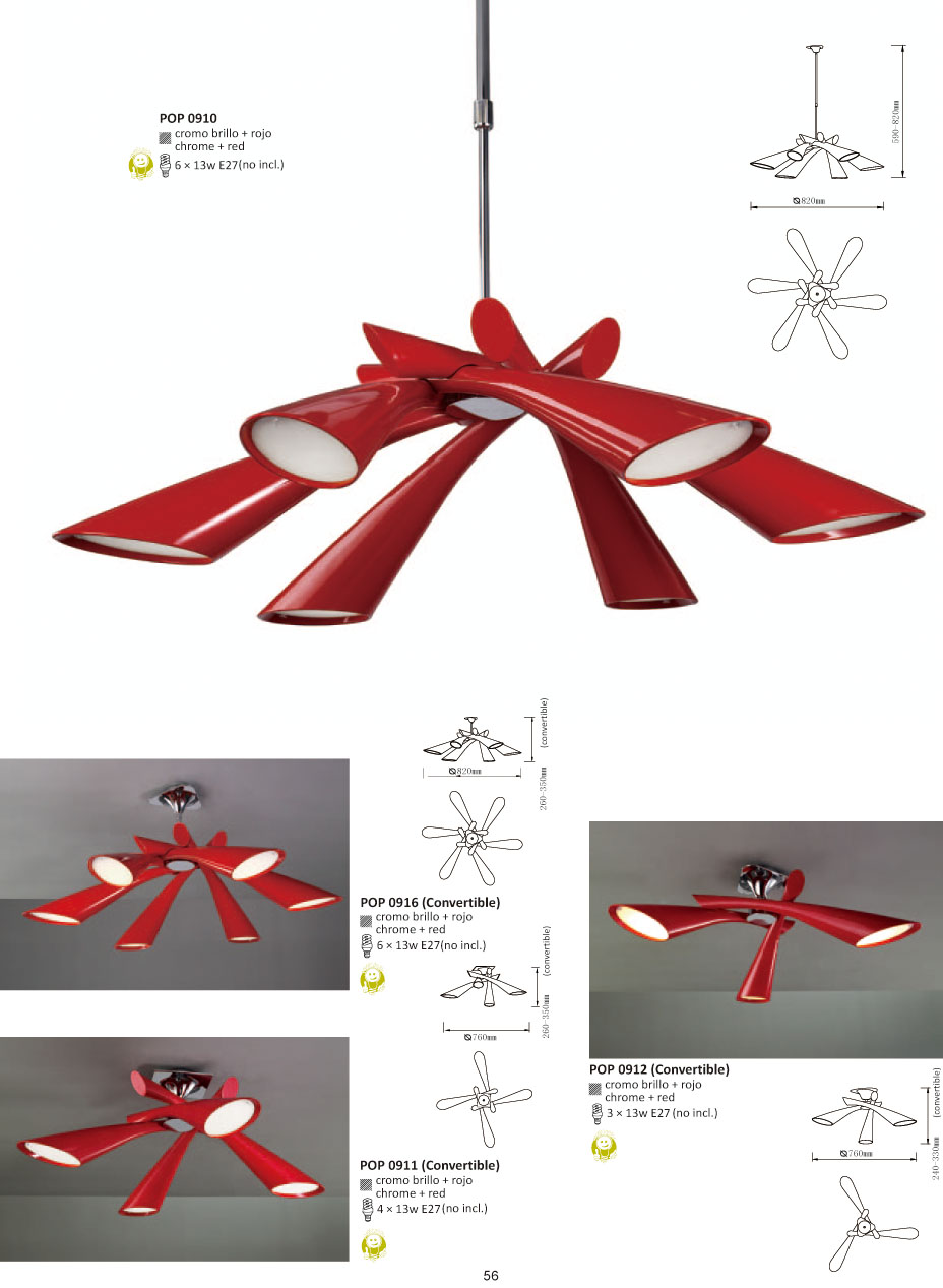 Pop Lampara plafon/SemiPlafon Lacado Rojo 4L Mantra Foto