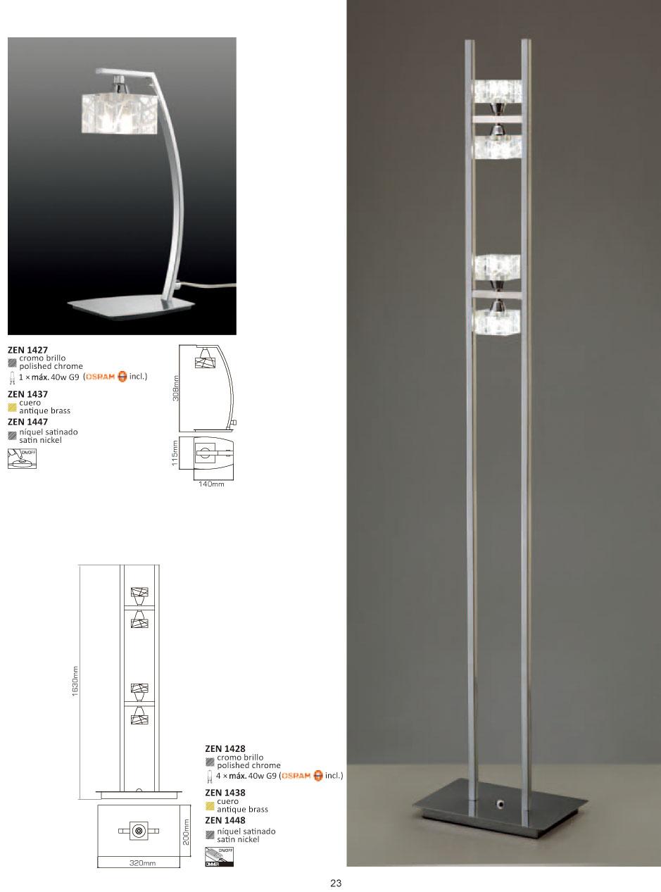 Zen lámpara of Floor Lamp leather 4L + Dimmer Mantra Image