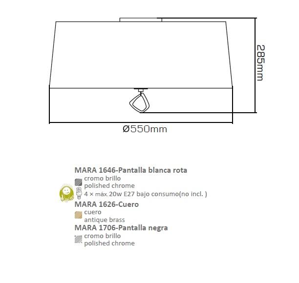 Mara Plafon 55cm 4xE27 20w Cromo/negro Mantra Foto