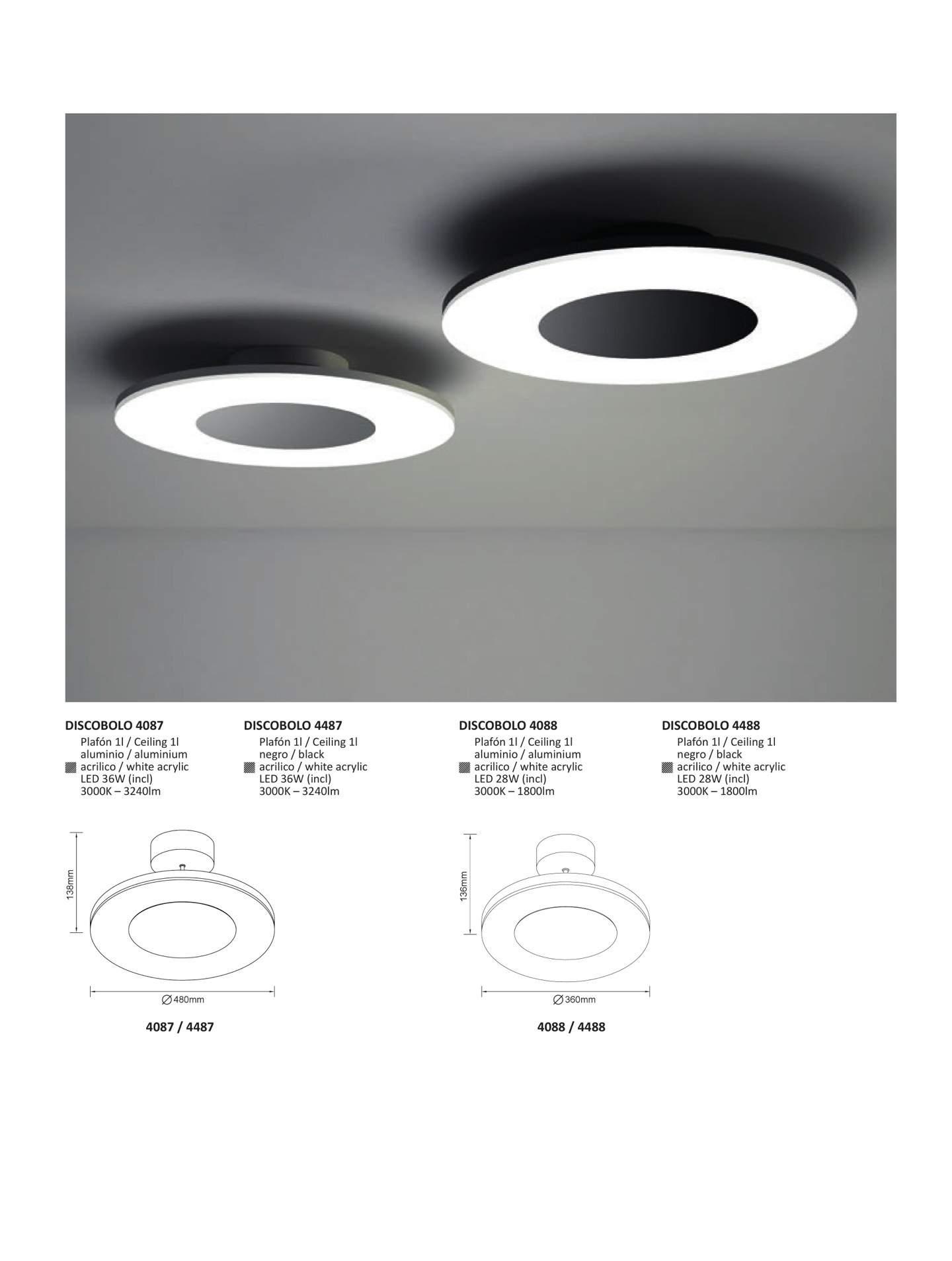 Mantra discobolo ceiling lamp circular 48cm led 4487 - Plafones de techo led ...