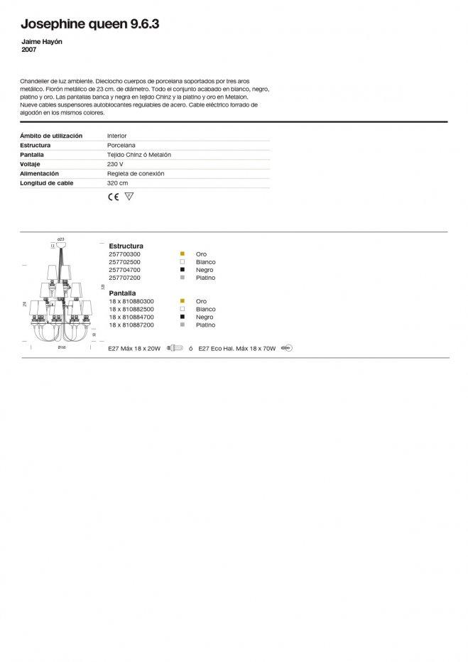 Josephine queen 9.6.3 (Structure) Pendant Lamp porcelain Gold Metalarte Image