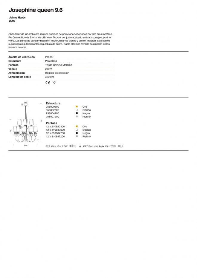 Josephine Queen 9.6 (Solo Estructura) Lámpara Colgante sin pantalla E27 15x70W Cerámica Oro Metalarte Foto