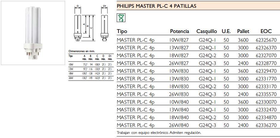 MASTER PL C 26W/840/4P 1CT/5X10BOX Philips Photo