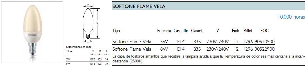 Philips softone flame candle 5w e14 1pf 12 90520500 for Lampada vela artemide