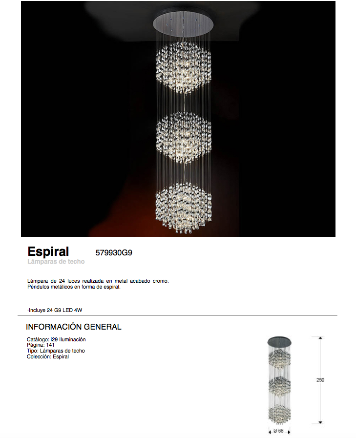 Espiral Pendant Lamp 24 lights G9 42w bright chrome Schuller Image