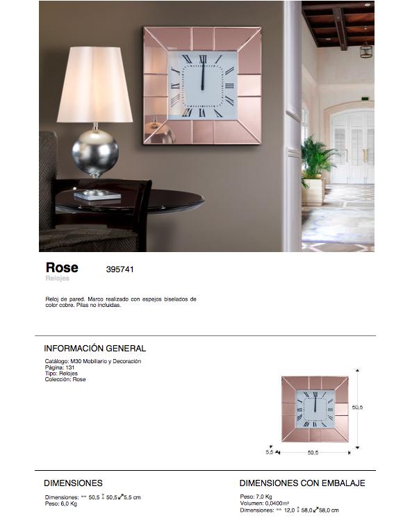 Schuller Rose Reloj de pared 50,5x50,5x5,5cm 395741 - Lámparas de diseño