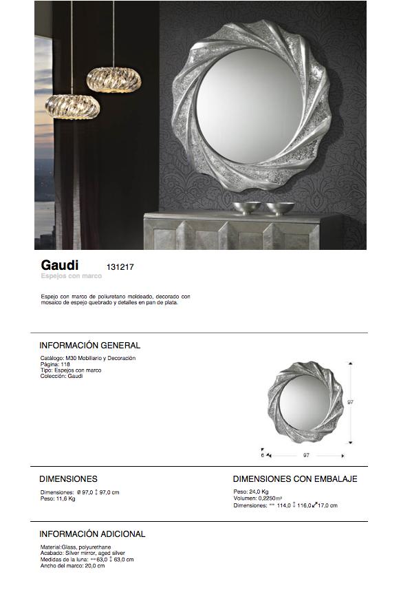 Gaudi espejo Redondo 97x97cm - Pan de Plata Schuller Foto