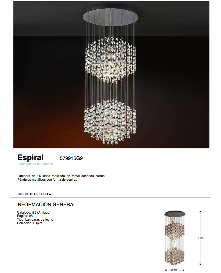 Espiral Pendant Lamp 36 lights G4 20w bright chrome Schuller Image