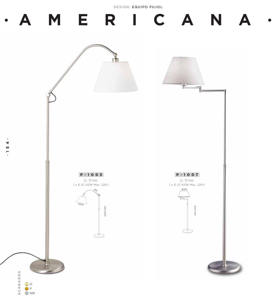 Pujol iluminacion americana l mpara de pie patine p 1005 p - Lamapara de pie ...