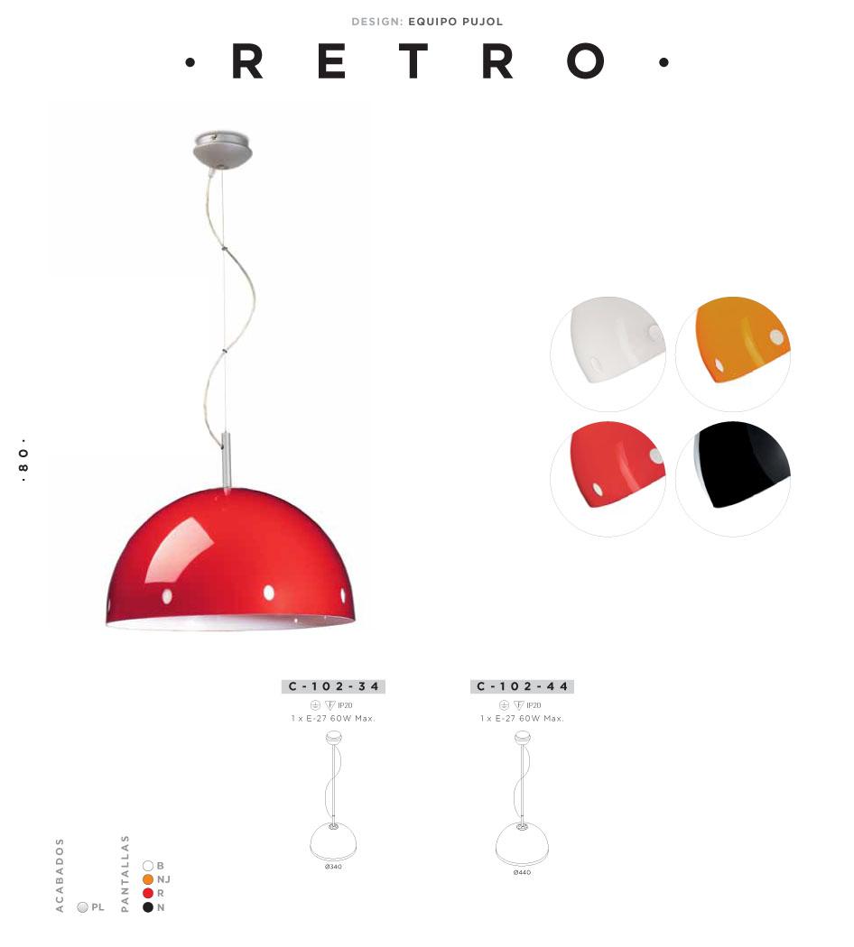 Retro Pendant Lamp ø34cm E27 1x60w Red Pujol Iluminacion Image