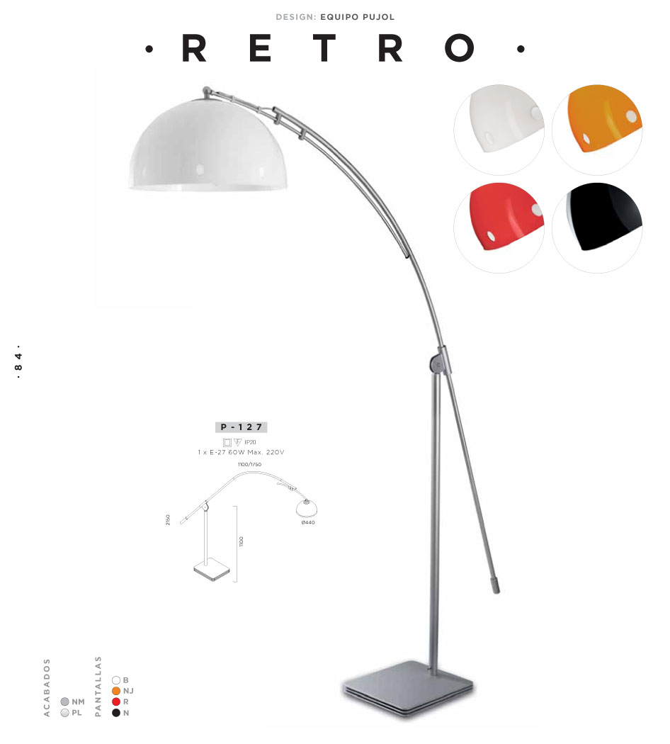 Retro lámpara of Floor Lamp E27 1x60w anthracite Pujol Iluminacion Image