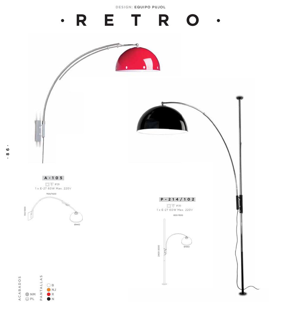 Retro Wall Lamp E27 1x60w Red Pujol Iluminacion Image