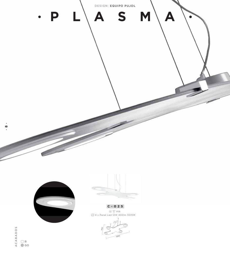 Plasma Colgante Aspa 4xPanel LED blanco Pujol Iluminacion Foto