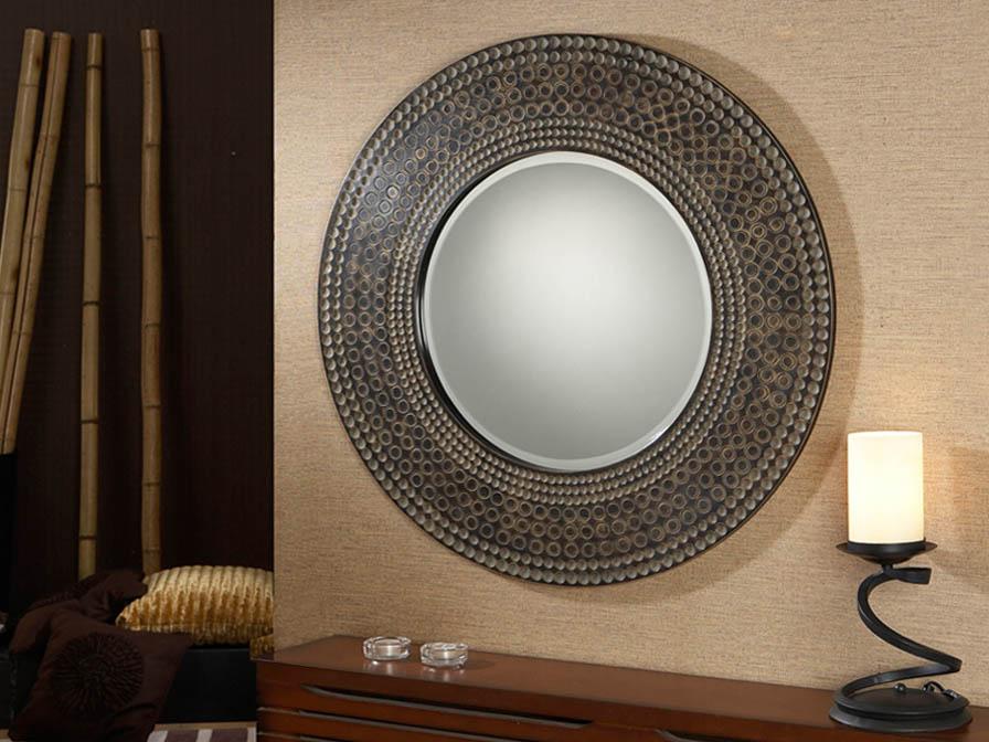 Schuller espejo r stico redondo 343011 l mparas de dise o - Lamparas para espejos ...