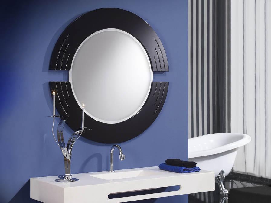 Schuller luxury espejo rcos redondo negro 71413042 for Espejo redondo negro