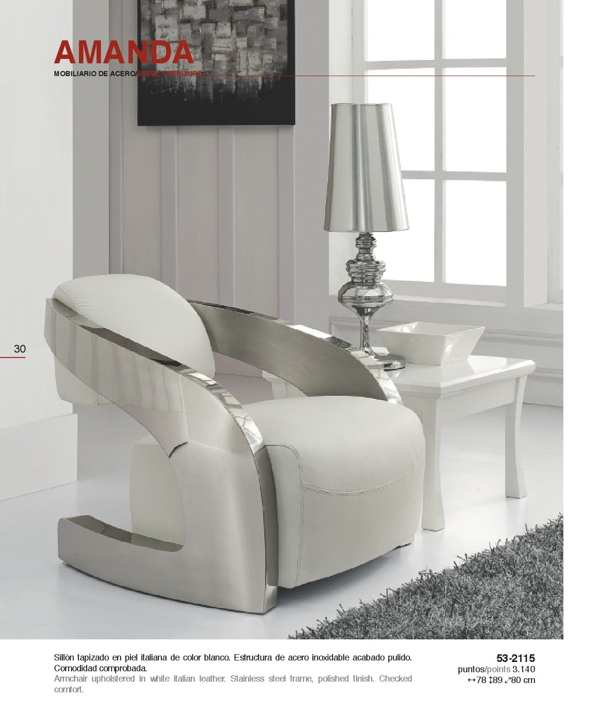 Amanda sillón blanco piel italiana Schuller Foto