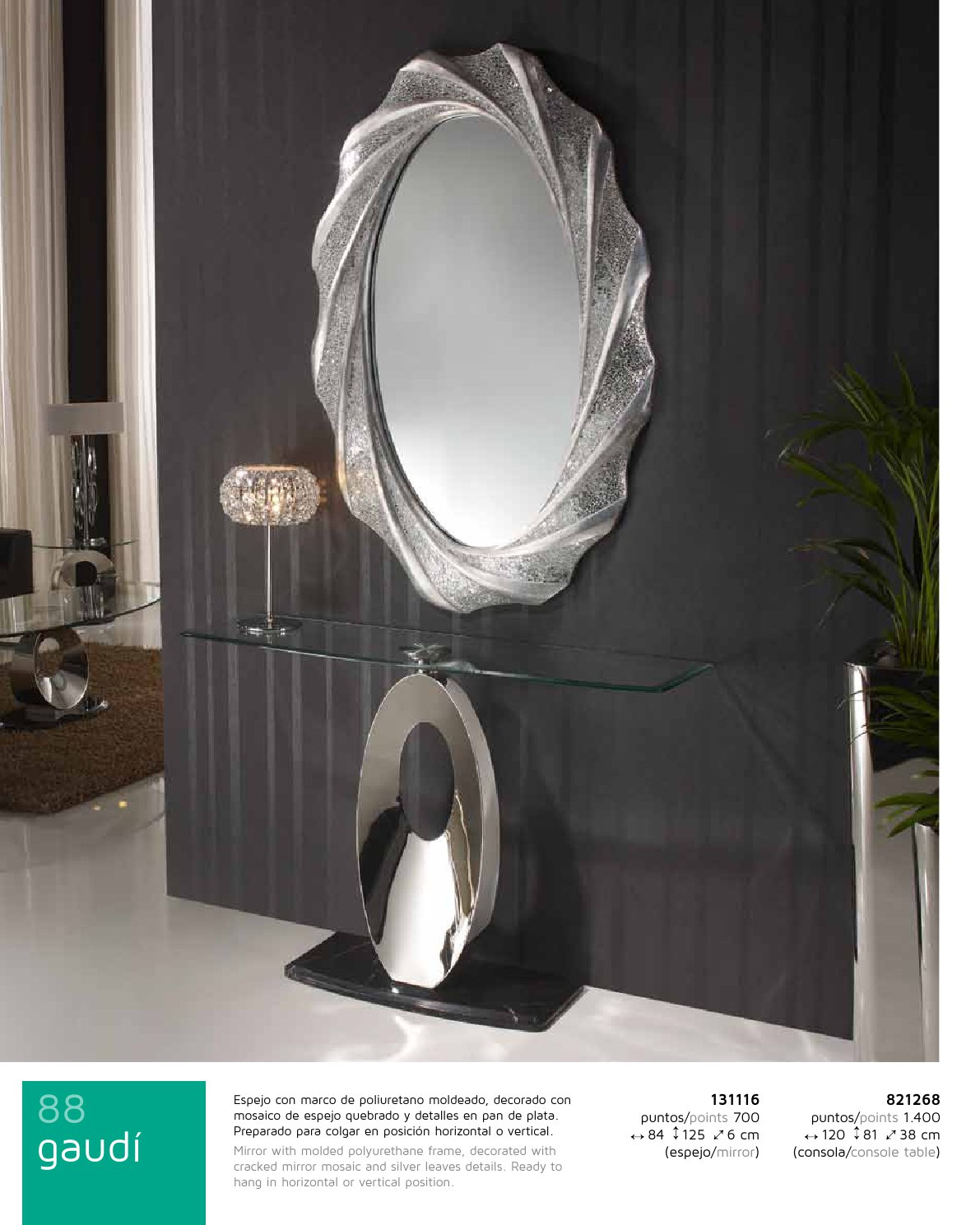 Gaudi espejo Ovalado 125x84cm - Pan de Plata Schuller Foto