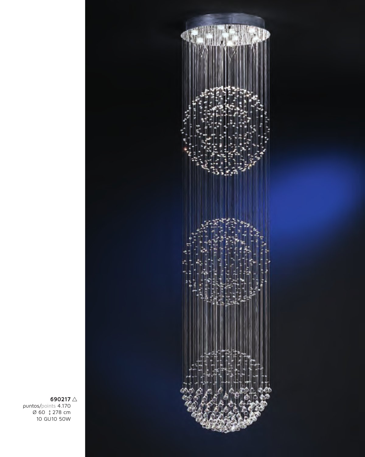 Estratos Suspension 3 Balles 10x GU10 LED 7W chromé brillant/Verre Asfour Schuller Image