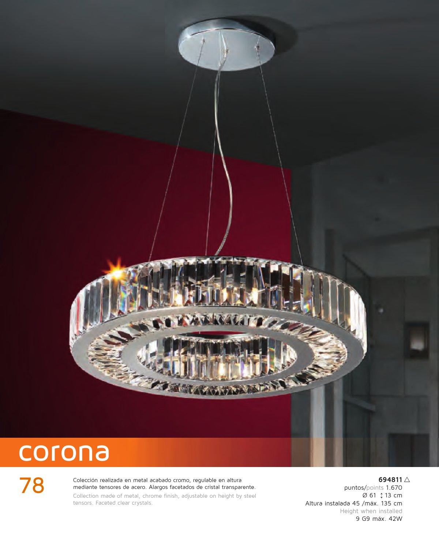 Corona Lámpara 9xG9 Colgante Schuller 42W 694811 Cromo W9YEID2eH