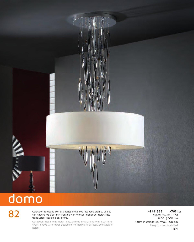 Domo Lampara Colgante 4L Cromo brillo + pantalla Blanco 60 Schuller Foto
