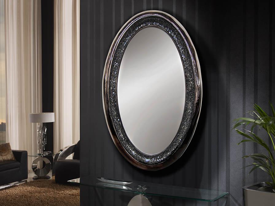 Schuller gaudi miroir ovale noir perle 131520 l mparas for Miroir online shop
