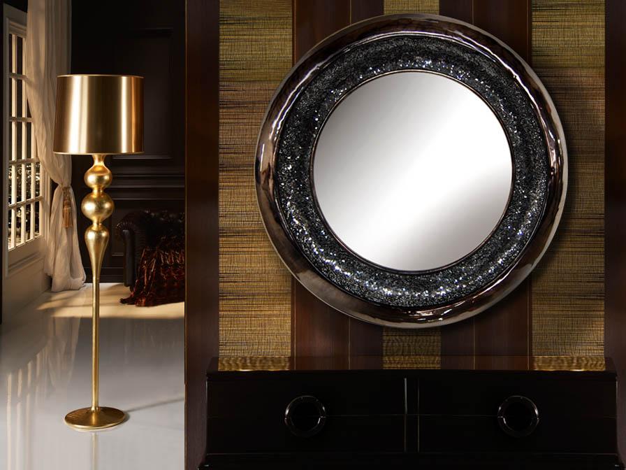 Schuller gaudi espejo redondo negro perla 131730 - Lamparas para espejos ...