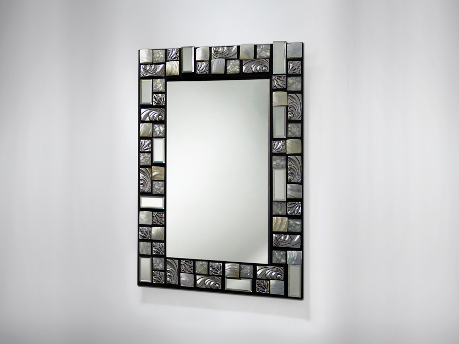 Miroir 90x60 Of Schuller Mosaic Mirror 90x60 Black Silver 840753