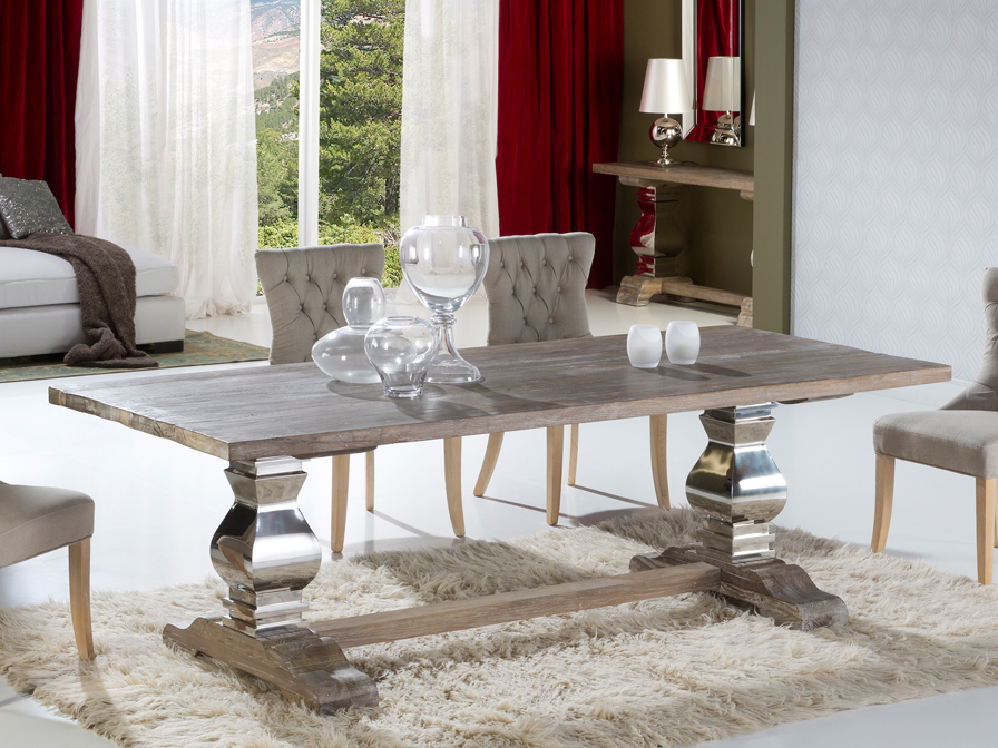 Antica 240 dining table 240x78x100cm Wood with patina white Schuller Image