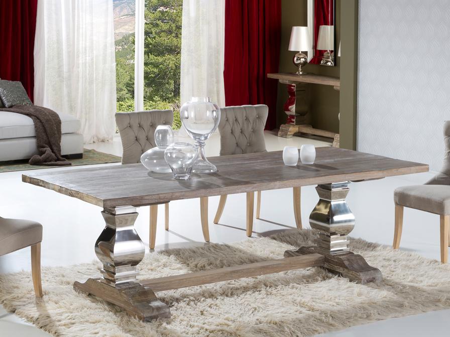 Antica 240 table de salle à manger 240x78x100cm Bois avec patina blanc Schuller Image