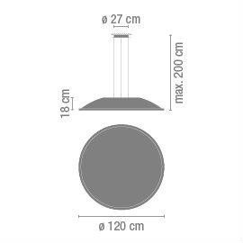 Big Colgante 120cm 2x2G11 36w dimable Cromado Vibia Foto