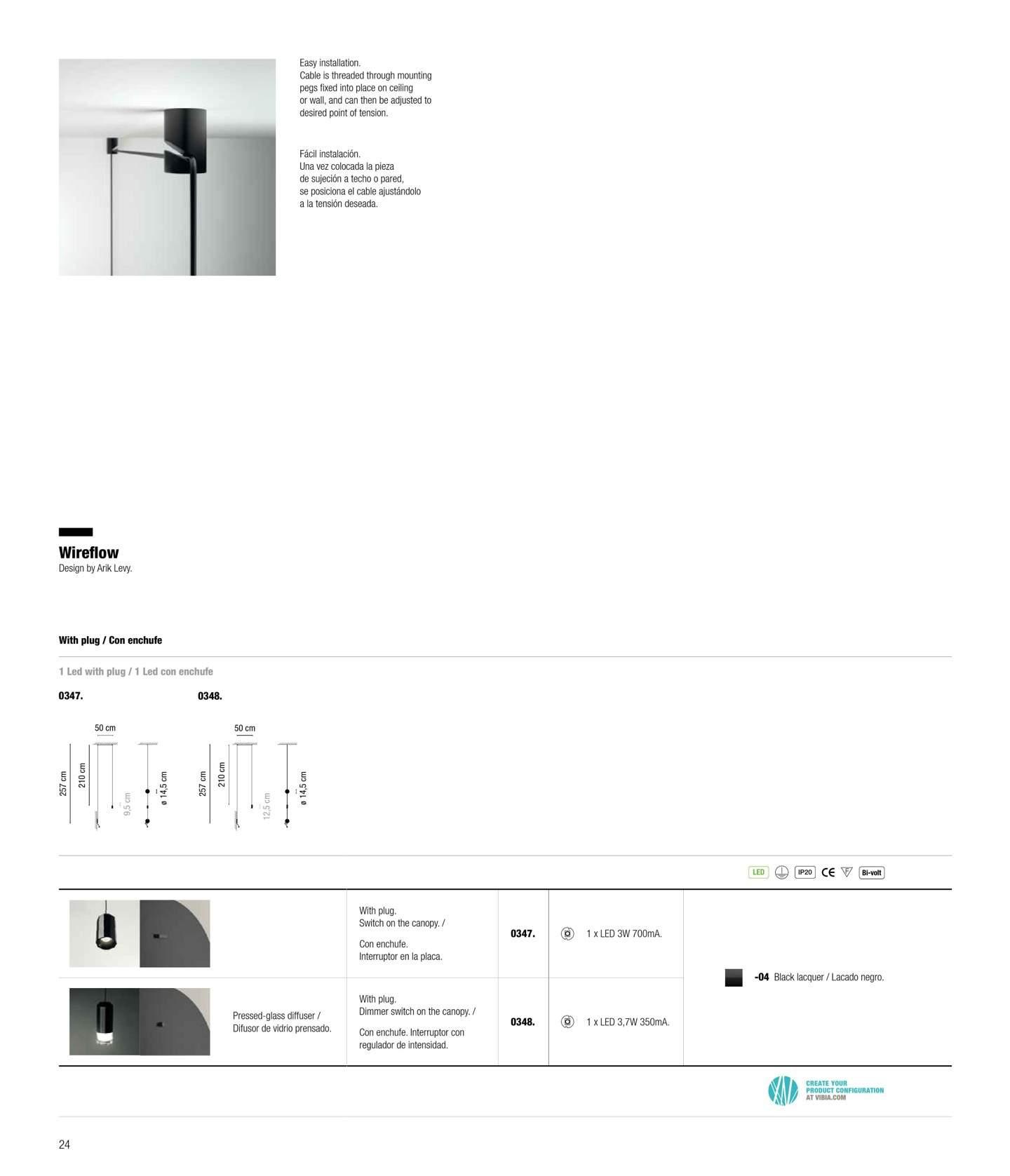 vibia wireflow pendelleuchte led 1x3w mit stecker e schalter lackiert schwarz. Black Bedroom Furniture Sets. Home Design Ideas
