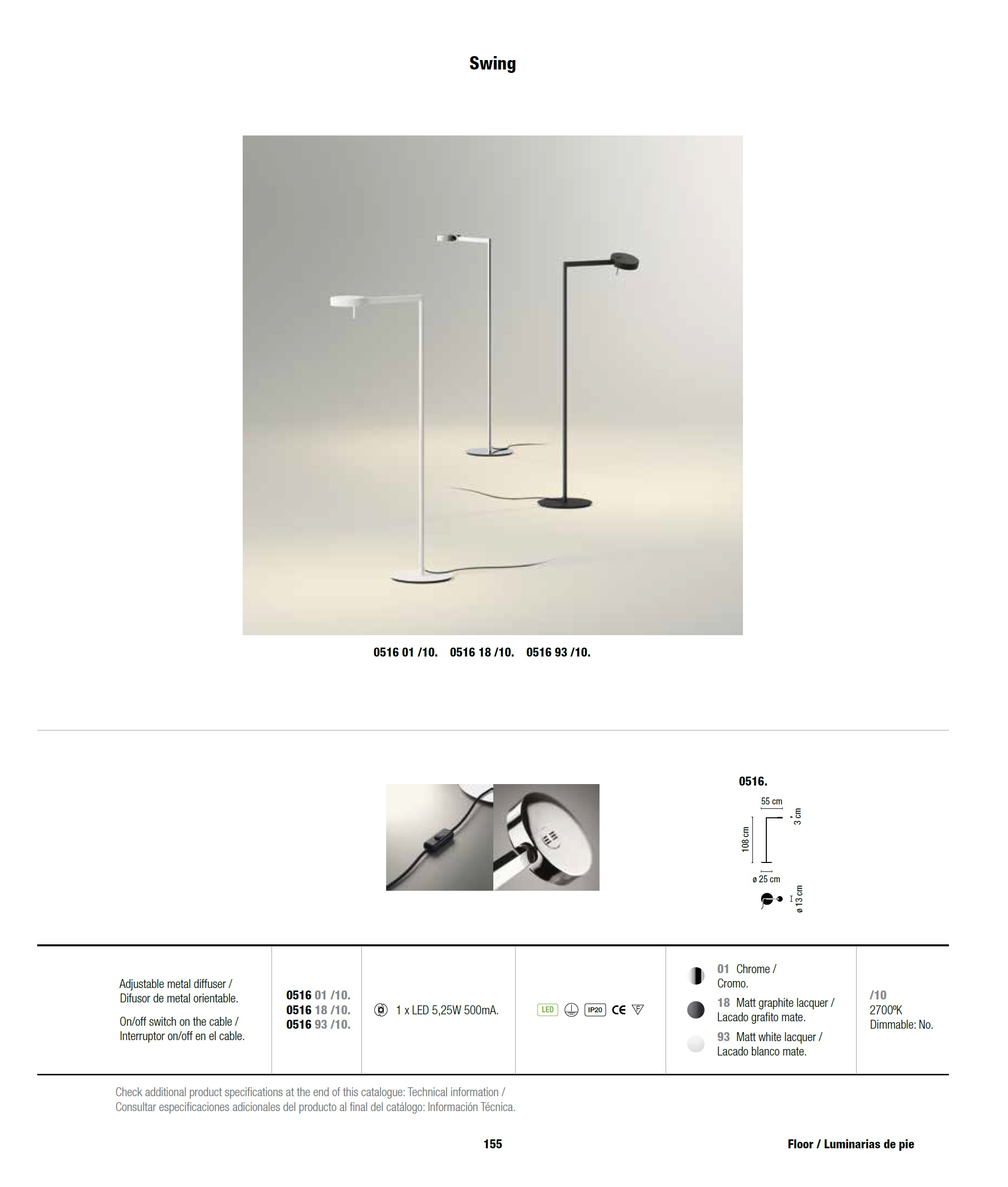 Vibia Swing Lampadaire LED 1x5,25w Diffuseur 0516-18 ...